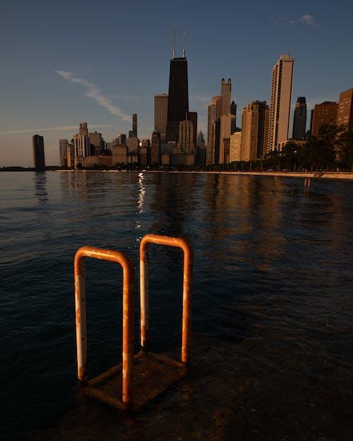 물, 스카이라인, 시카고, 일출의 무료 스톡 사진