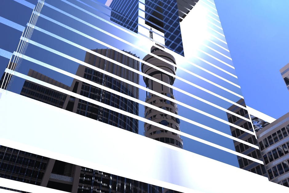 Building in a city with reflection