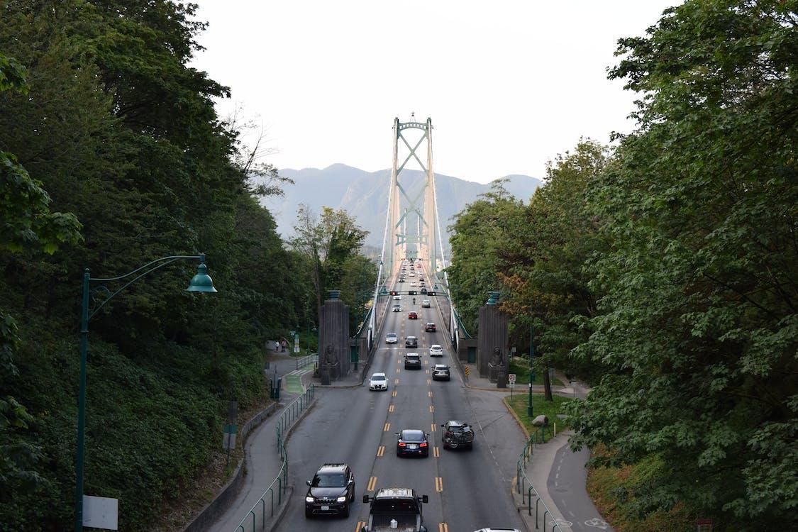 bridge, mountains, skyline