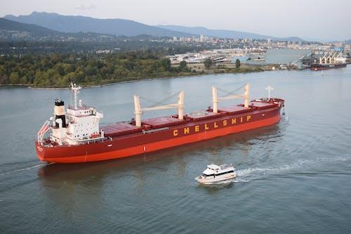 Základová fotografie zdarma na téma člun, hora, nákladní loď, oceán