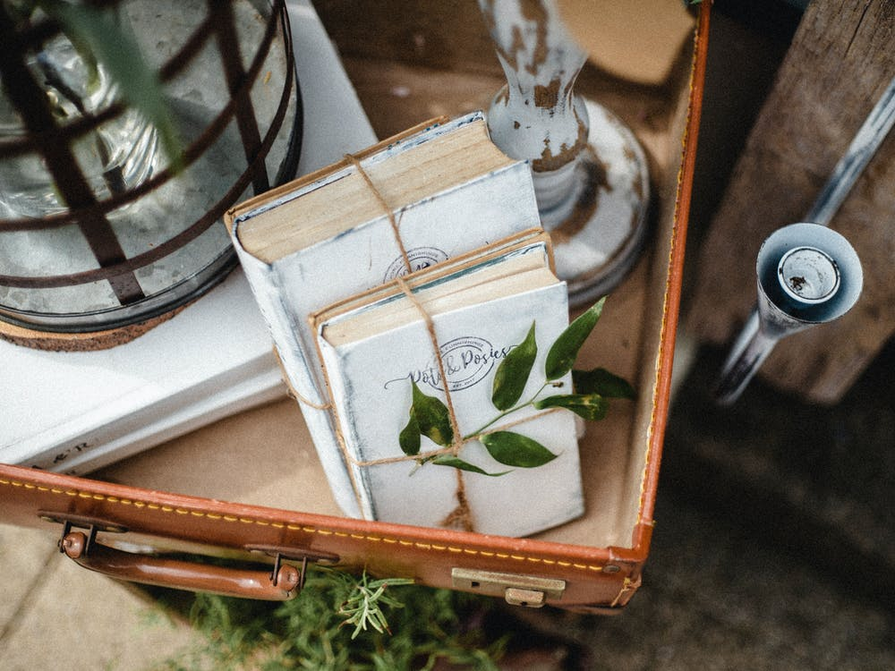 antikk, bøker, container