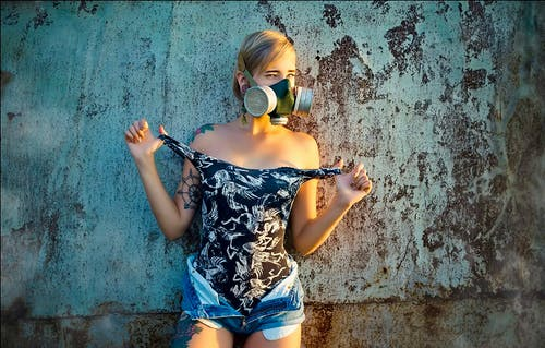 Free stock photo of abstract photo, gas mask, girl, photoshoot