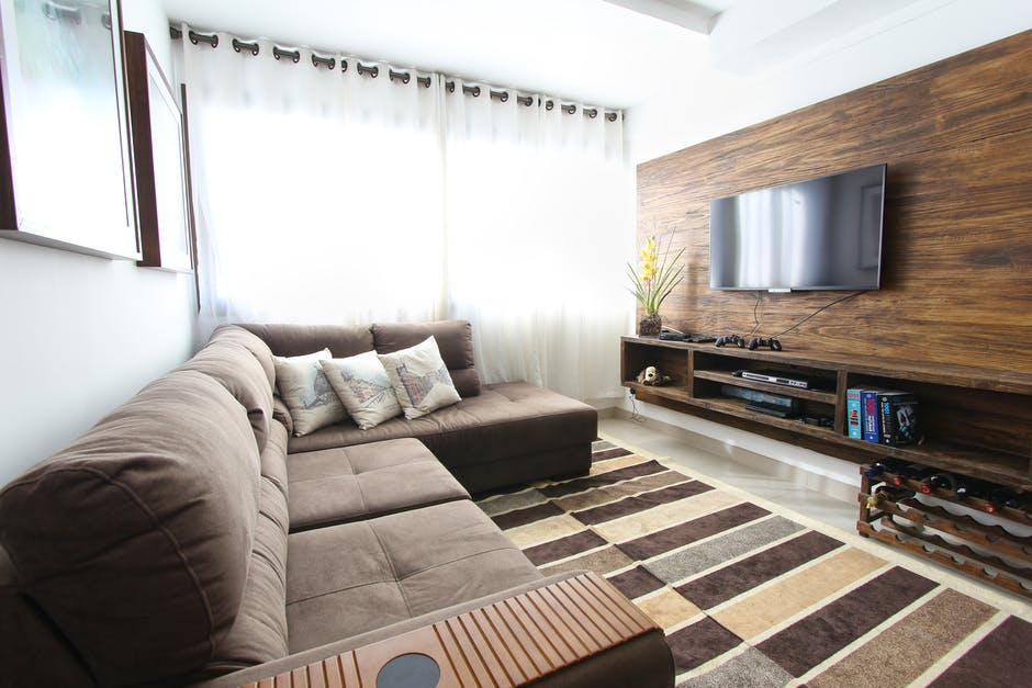 Sofa Sectional Kain Coklat
