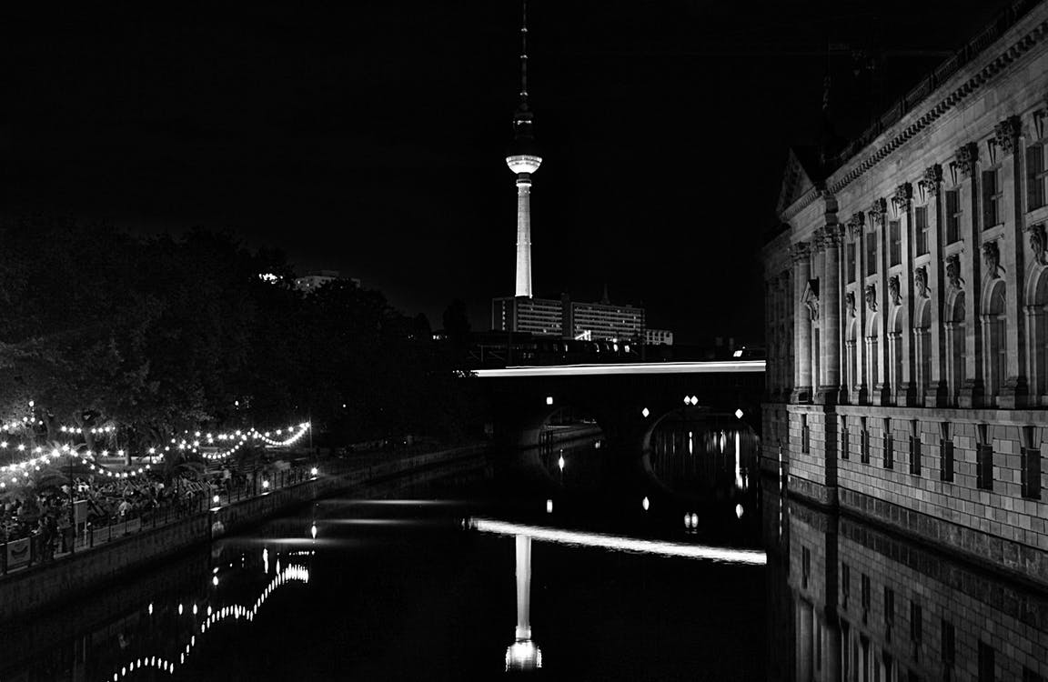 Grayscale Photo of City at Night