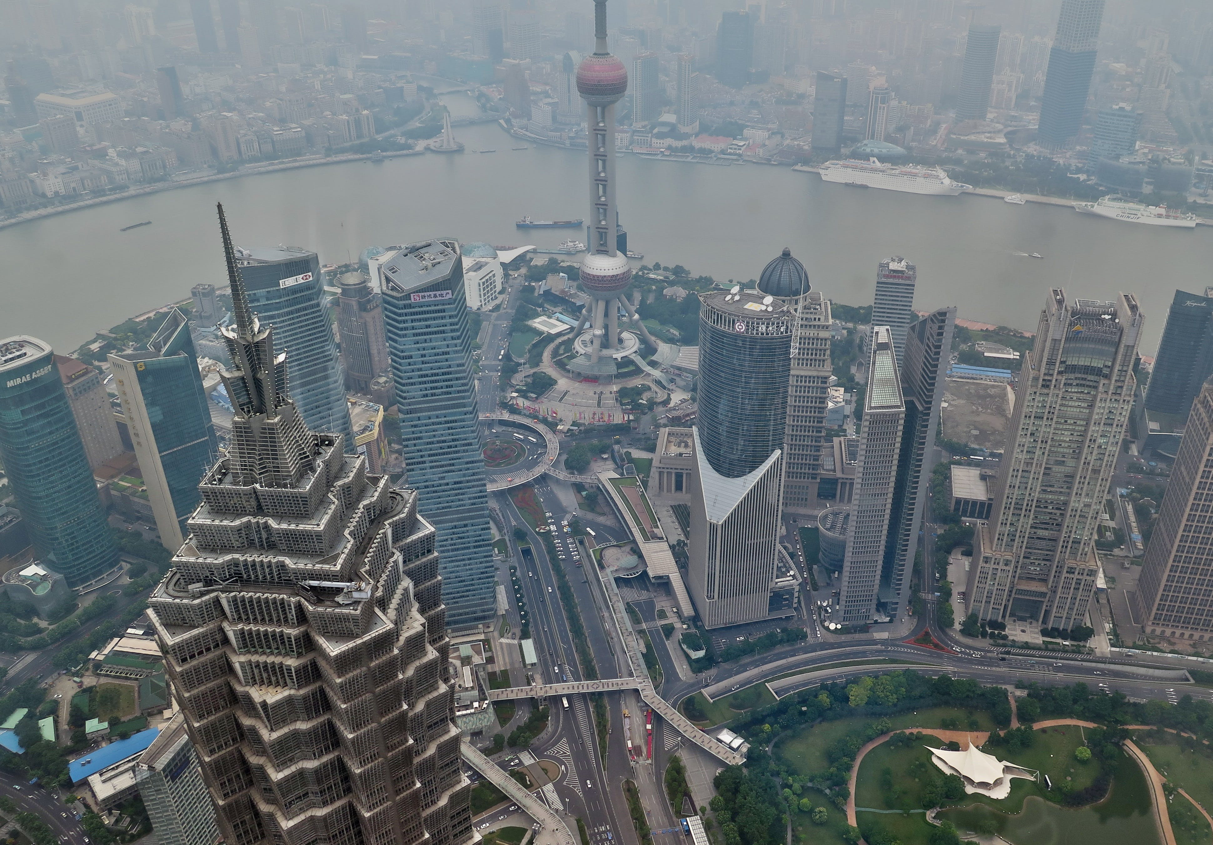 air pollution, architecture, asia