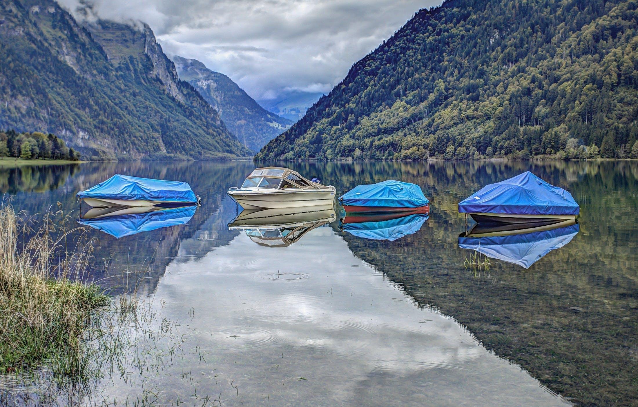 boats, calm, clouds