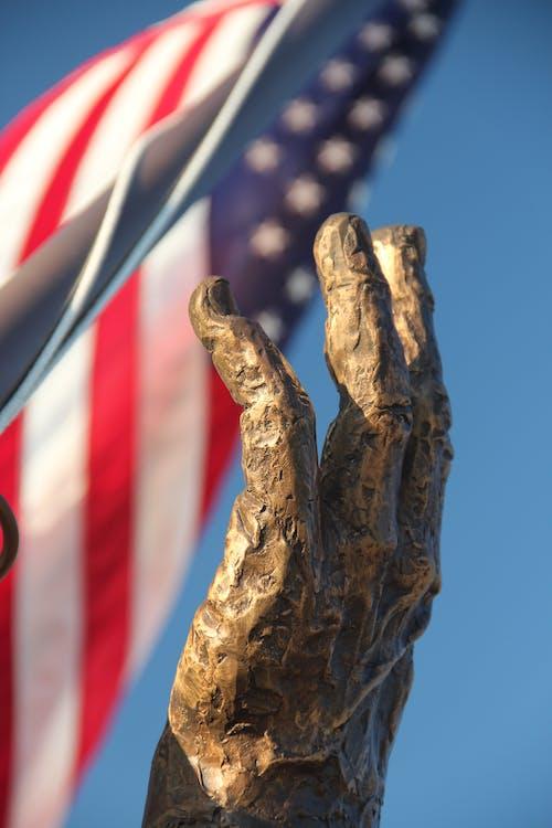 깃발, 미국 국기, 손, 조각상의 무료 스톡 사진