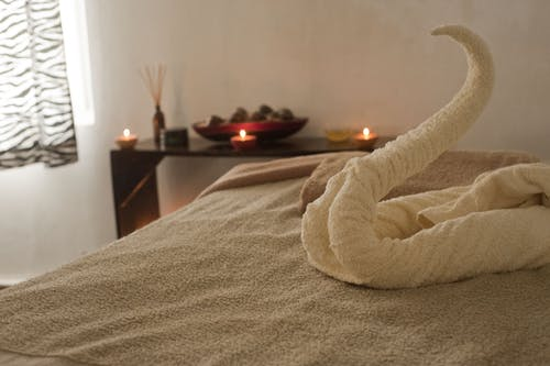 Towel Formed Into Swan on Bed