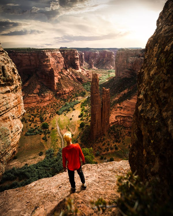 Man Standing By A Rock Cliff
