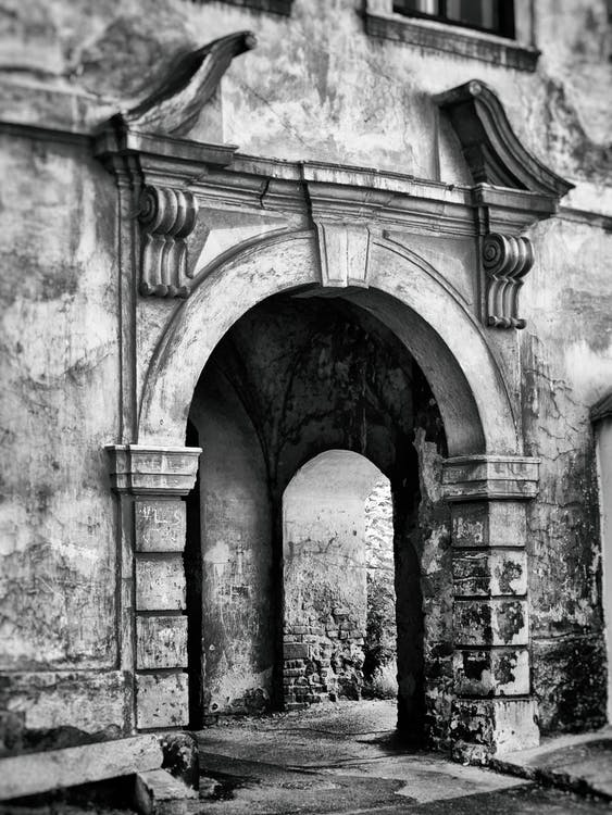 architektura, brána, budova