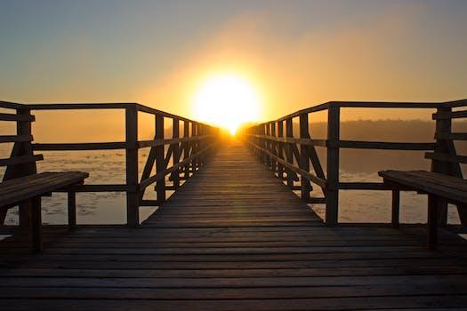 Free stock photo of wood, bench, light, sea