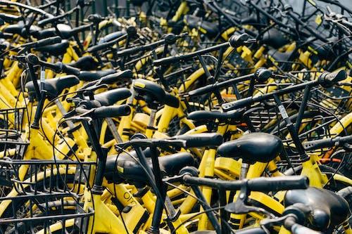 Close-up Photo of Yellow Bike Lot