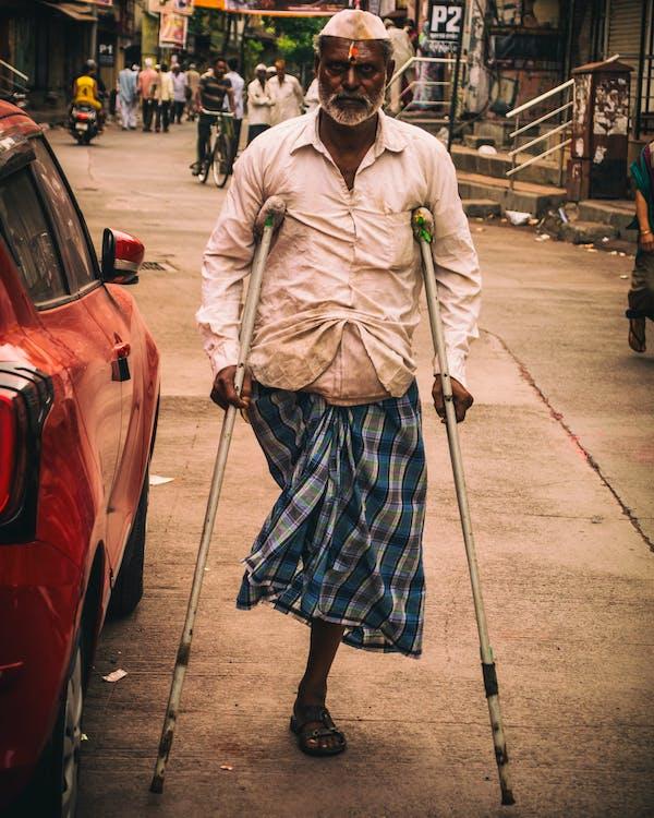 Man In A Crutch