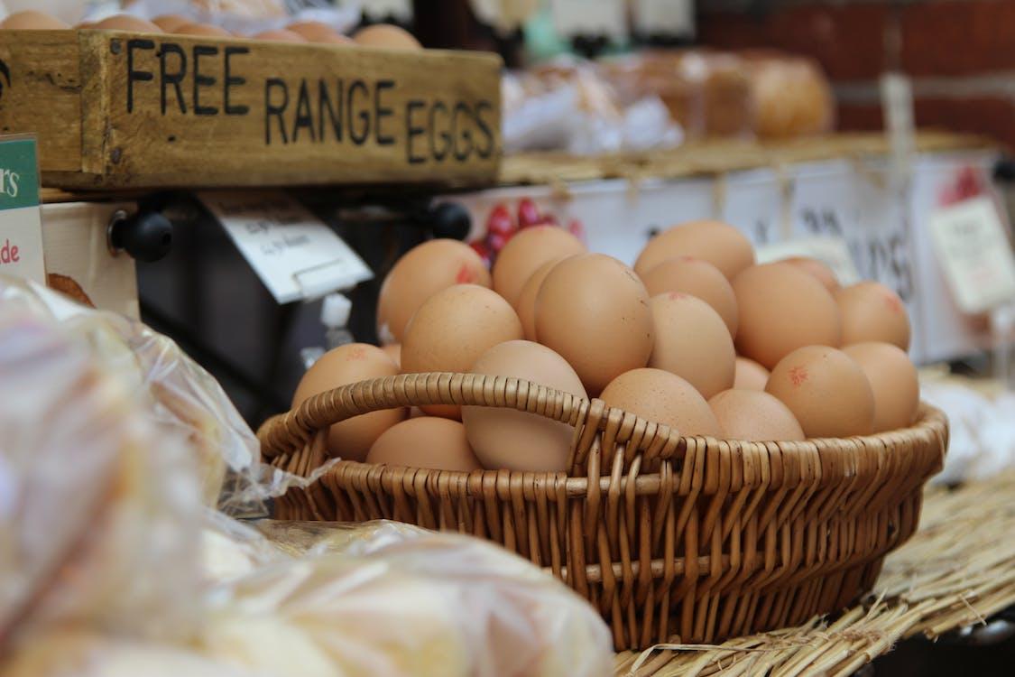 Brown Eggs in Brown Wicker Basket