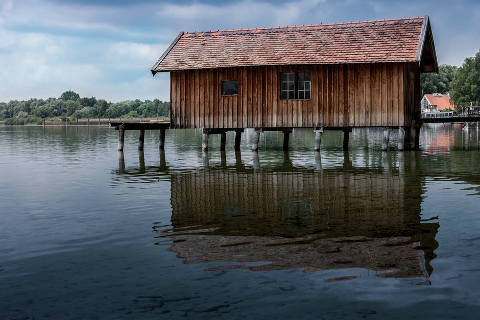 architecture, boathouse, bungalow