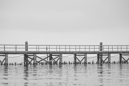 Gray Dock on Body of Water