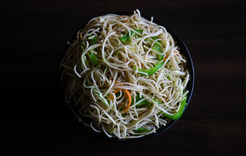 High-Angle Photo of Noodles on Bowl