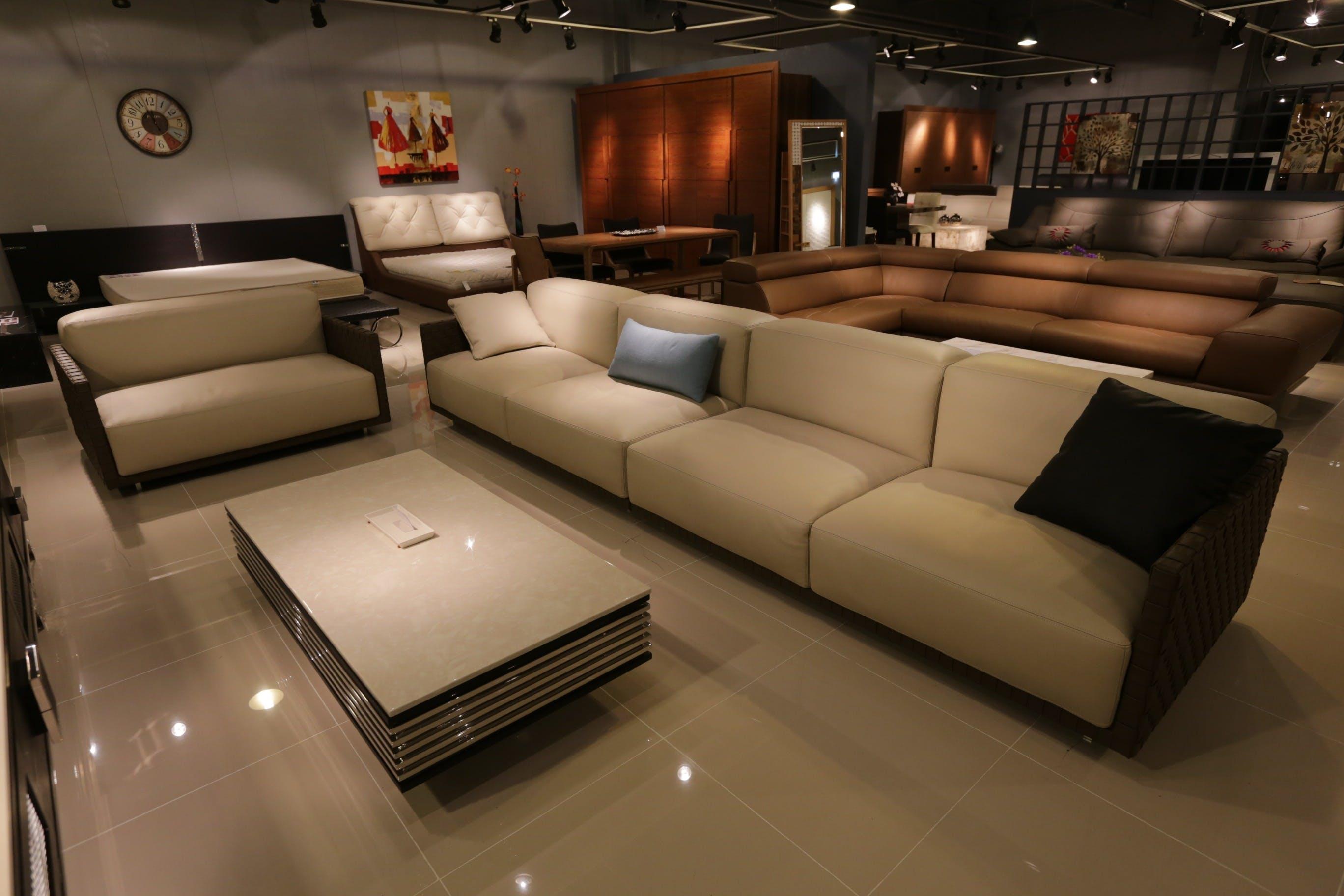 Beige 3-seat Sofa