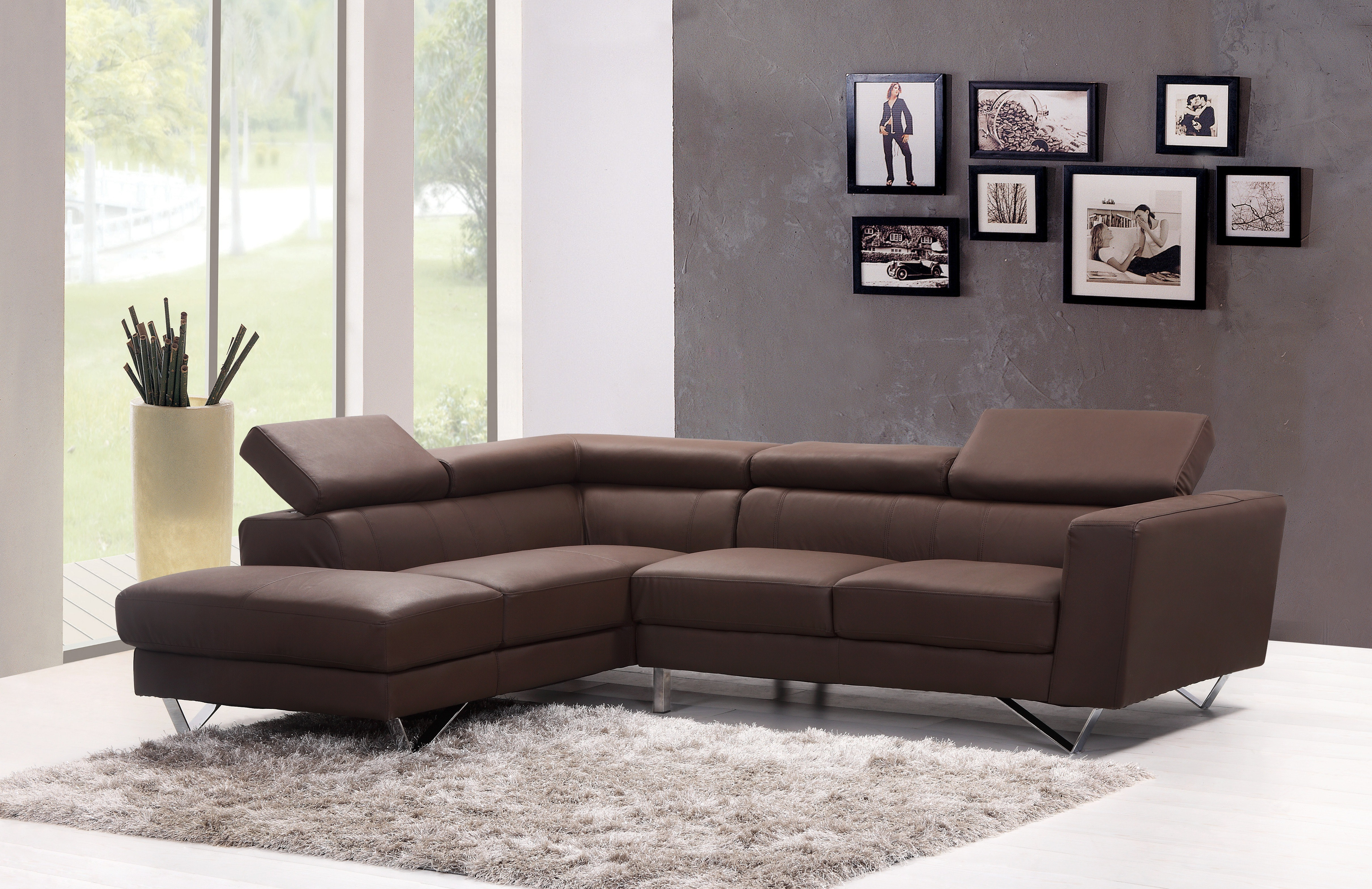 Brown Leather Sectional Sofa Free Stock Photo