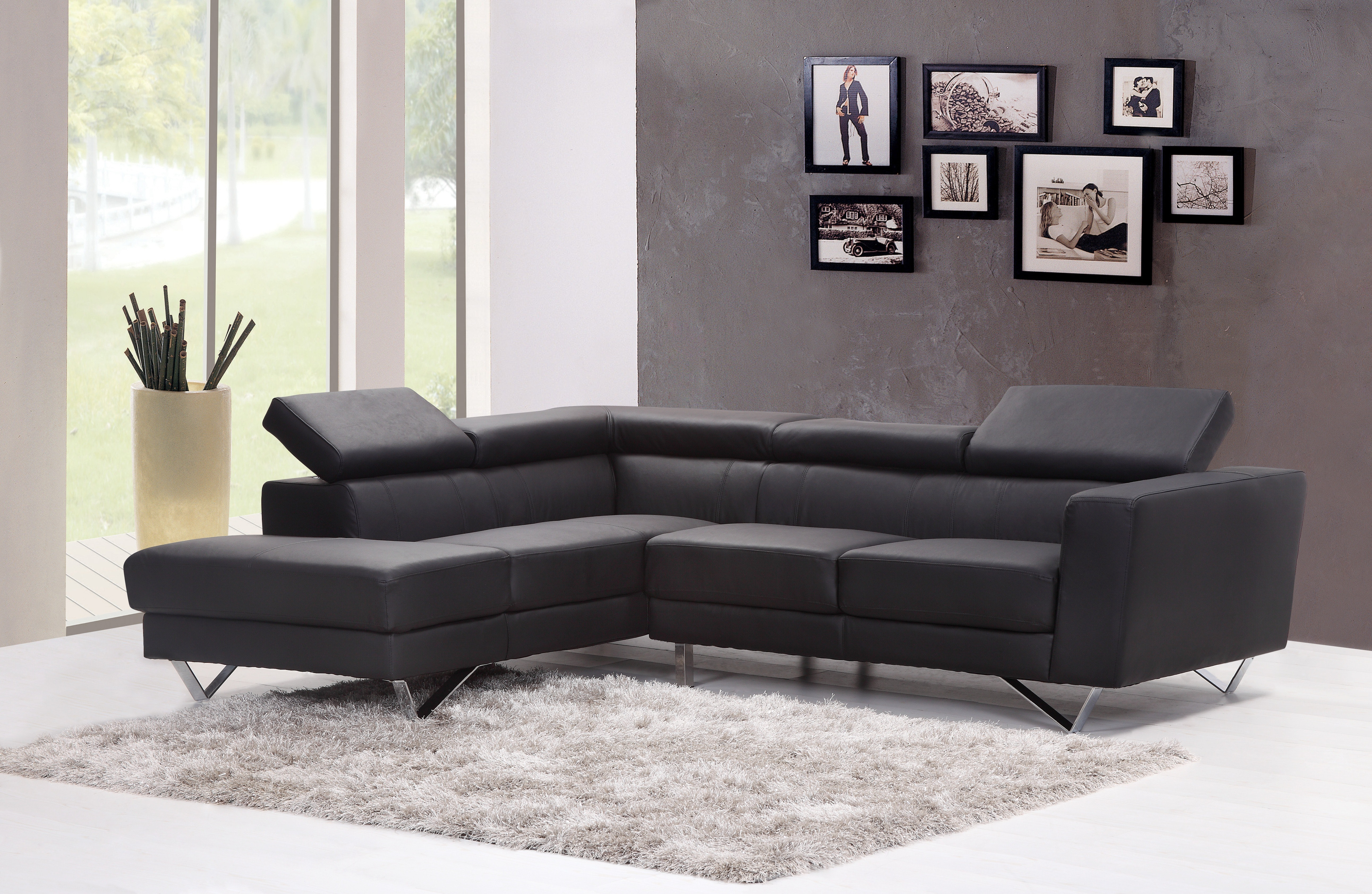 Black Fabric Sectional Sofa Near Glass Window Free Stock Photo
