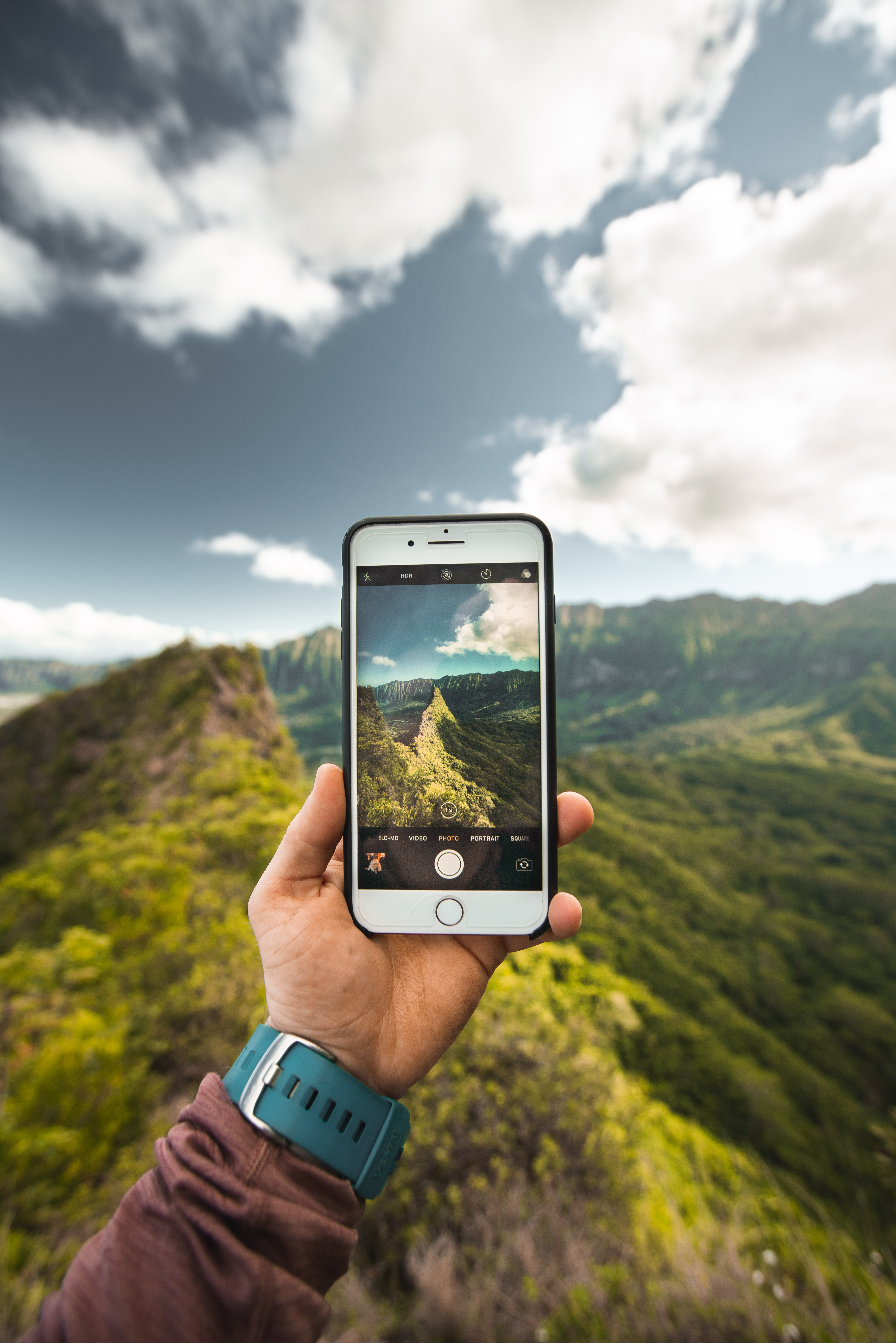 Person Showing Photo of Mountains