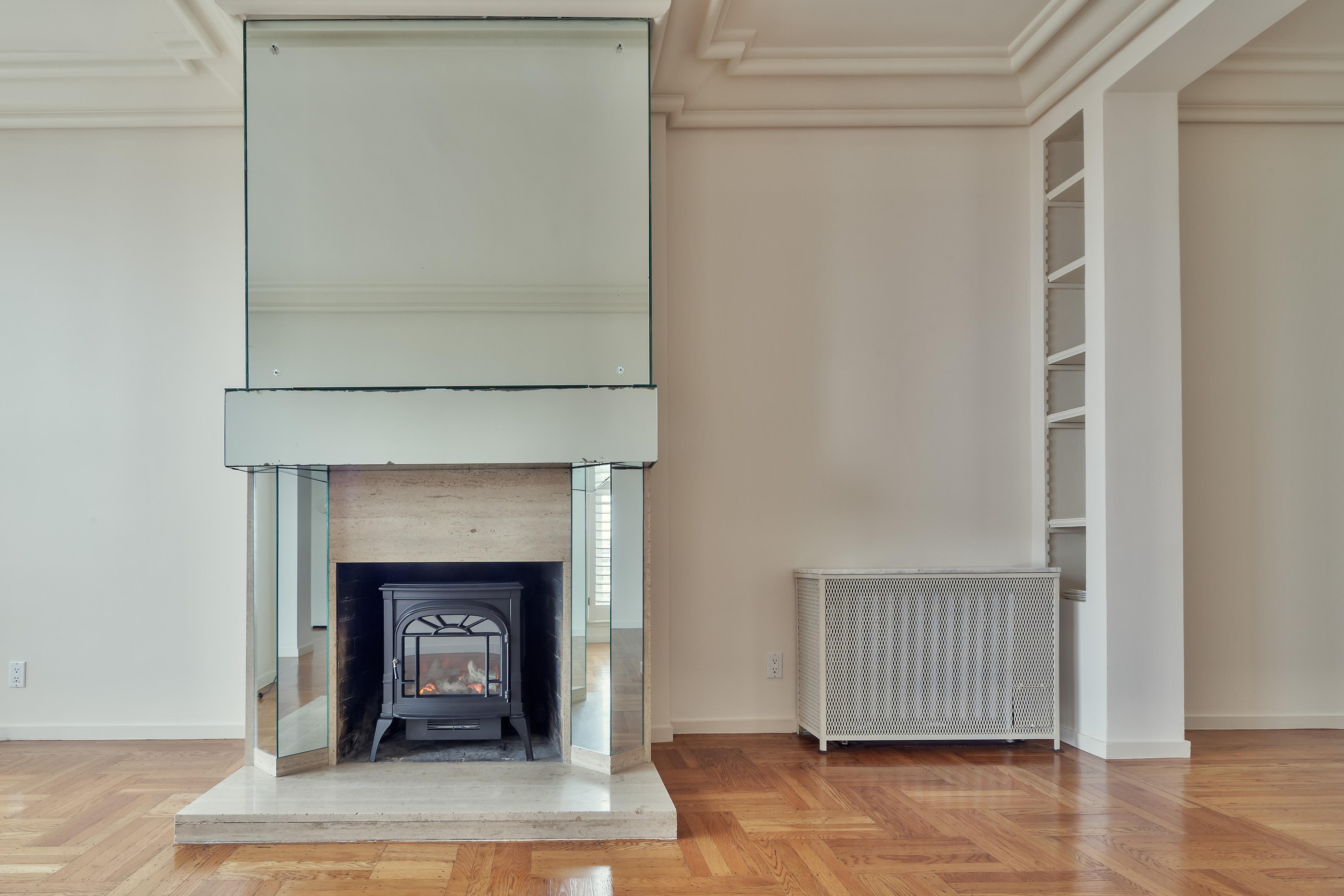 Black Fireplace Inside Wall
