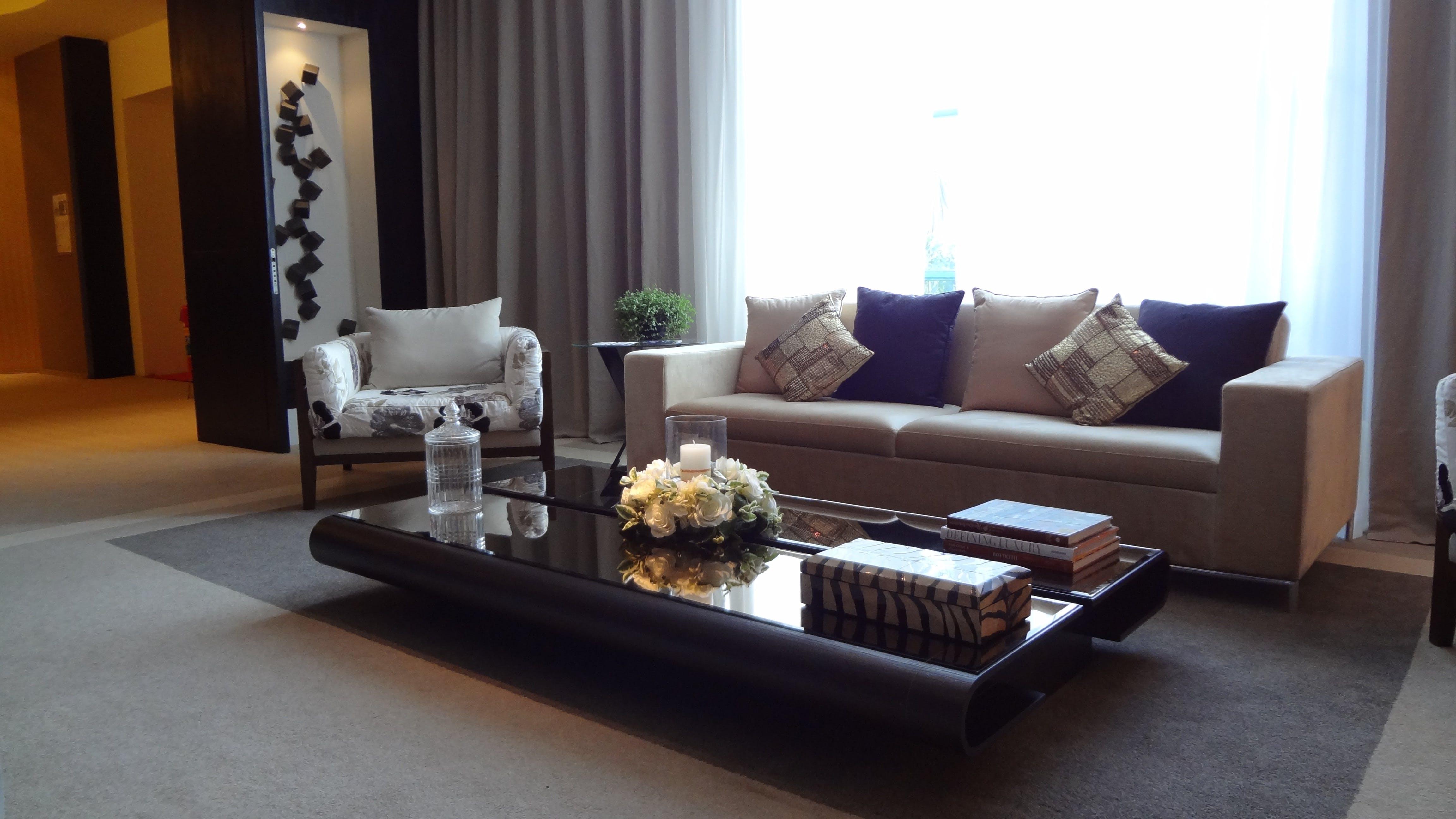 Brown Fabric 2-seat Sofa Near Window