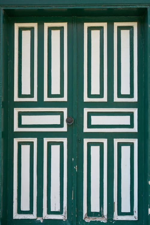 Photo Of Green And White Wooden Door
