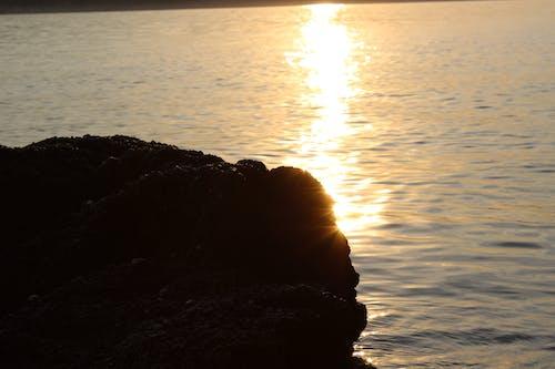 Free stock photo of rock, sea, sun