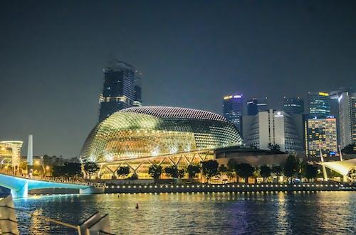 Free stock photo of bridge, buildings, city lights