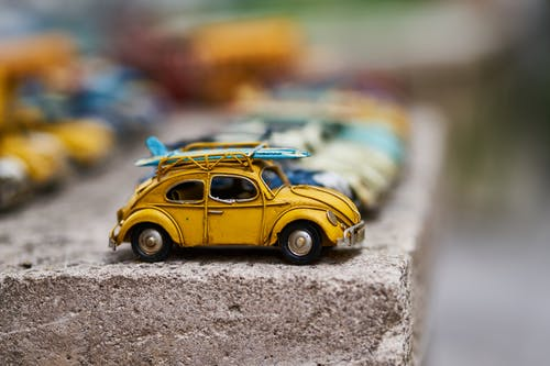 Yellow Volkswagen Beetle Scale Model