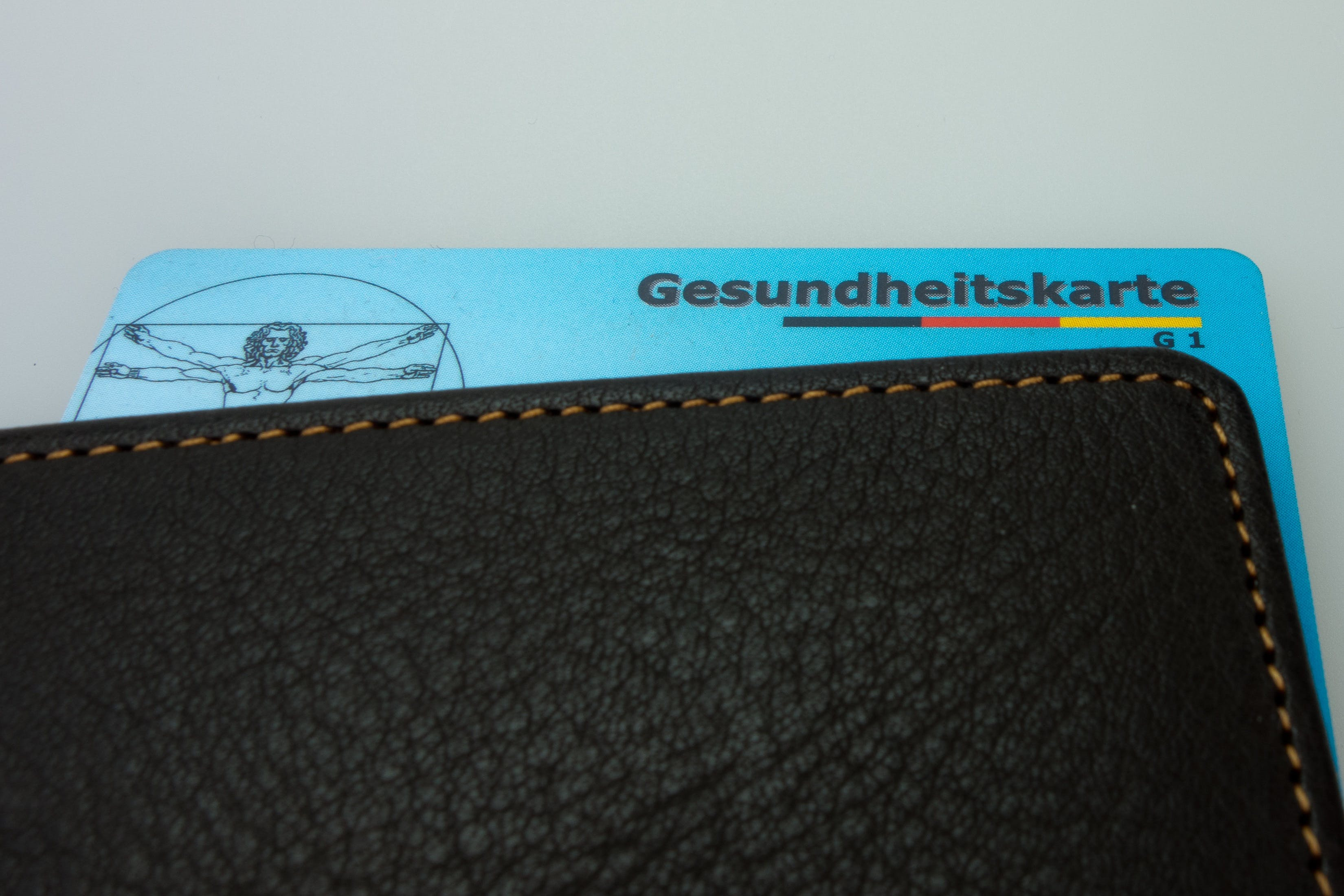 Black Leather Wallet With Gesundheitskarte Card