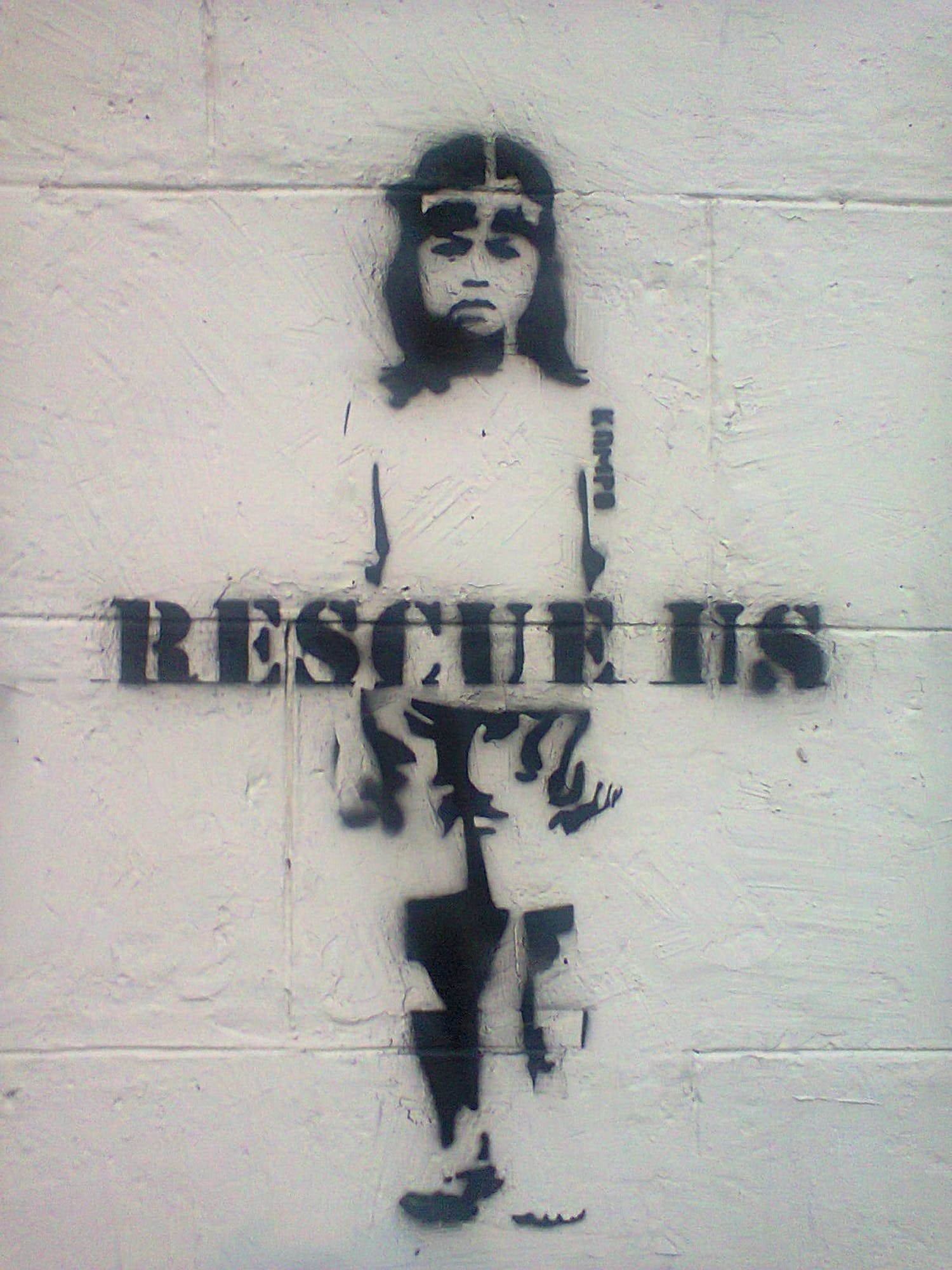 brick, child trafficking, graffiti