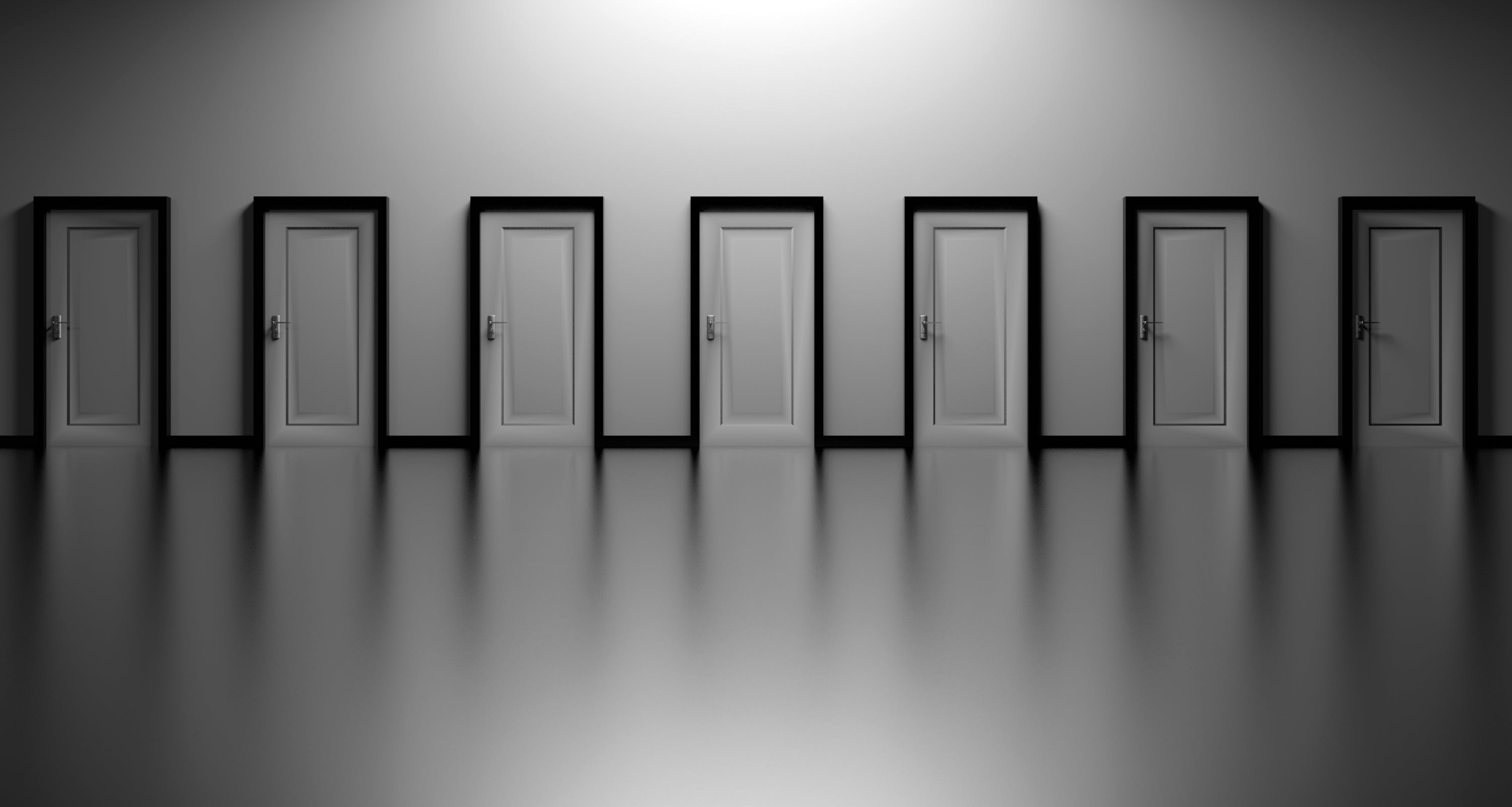 black-and-white, decision, doors