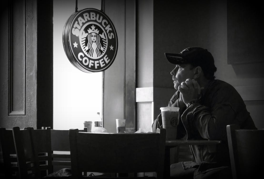 coffee, lonely, reflection