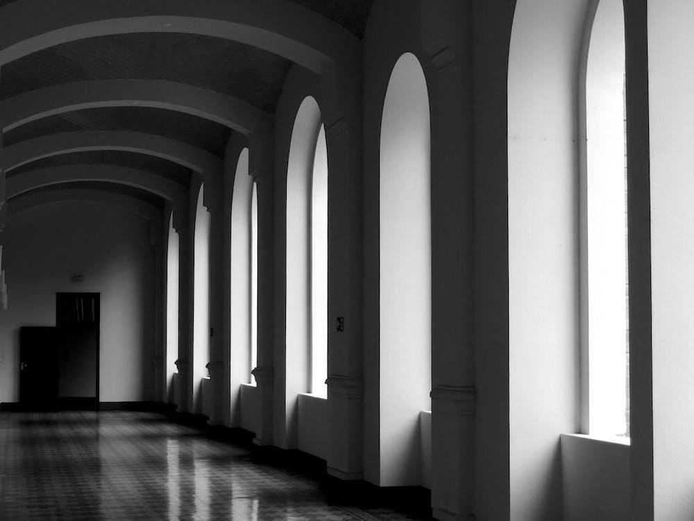 Monochrome Photo Of Empty Hallway