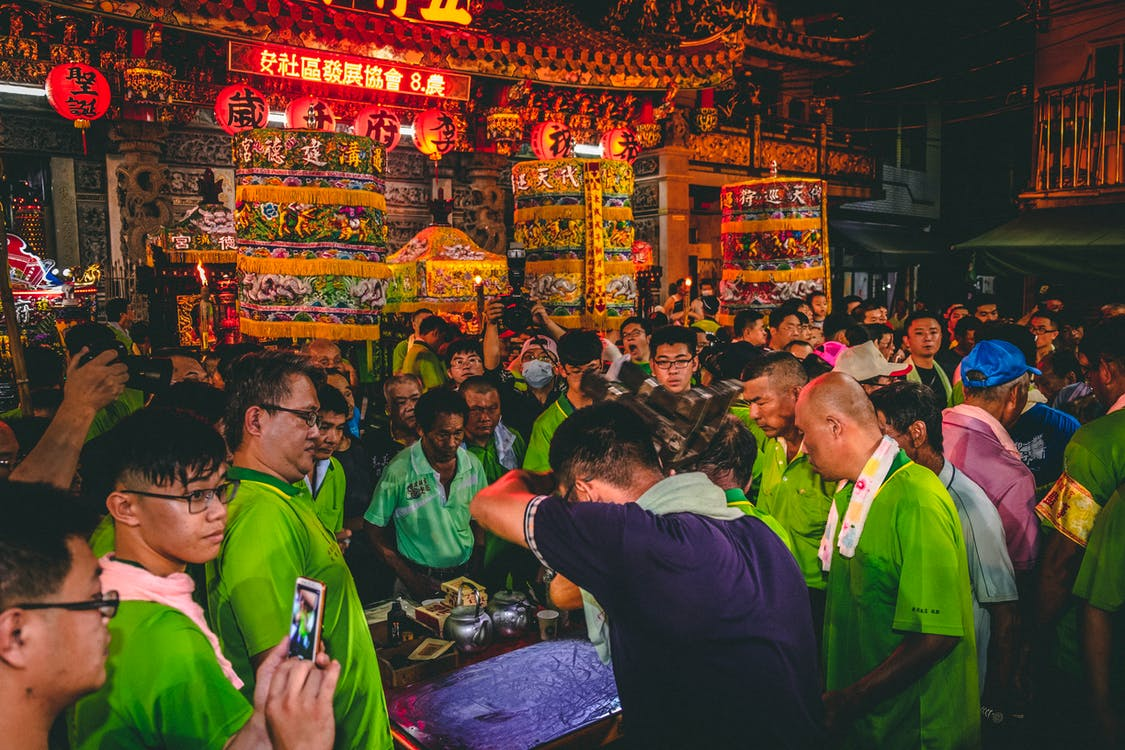 People In The Street Having A Traditional Celebration