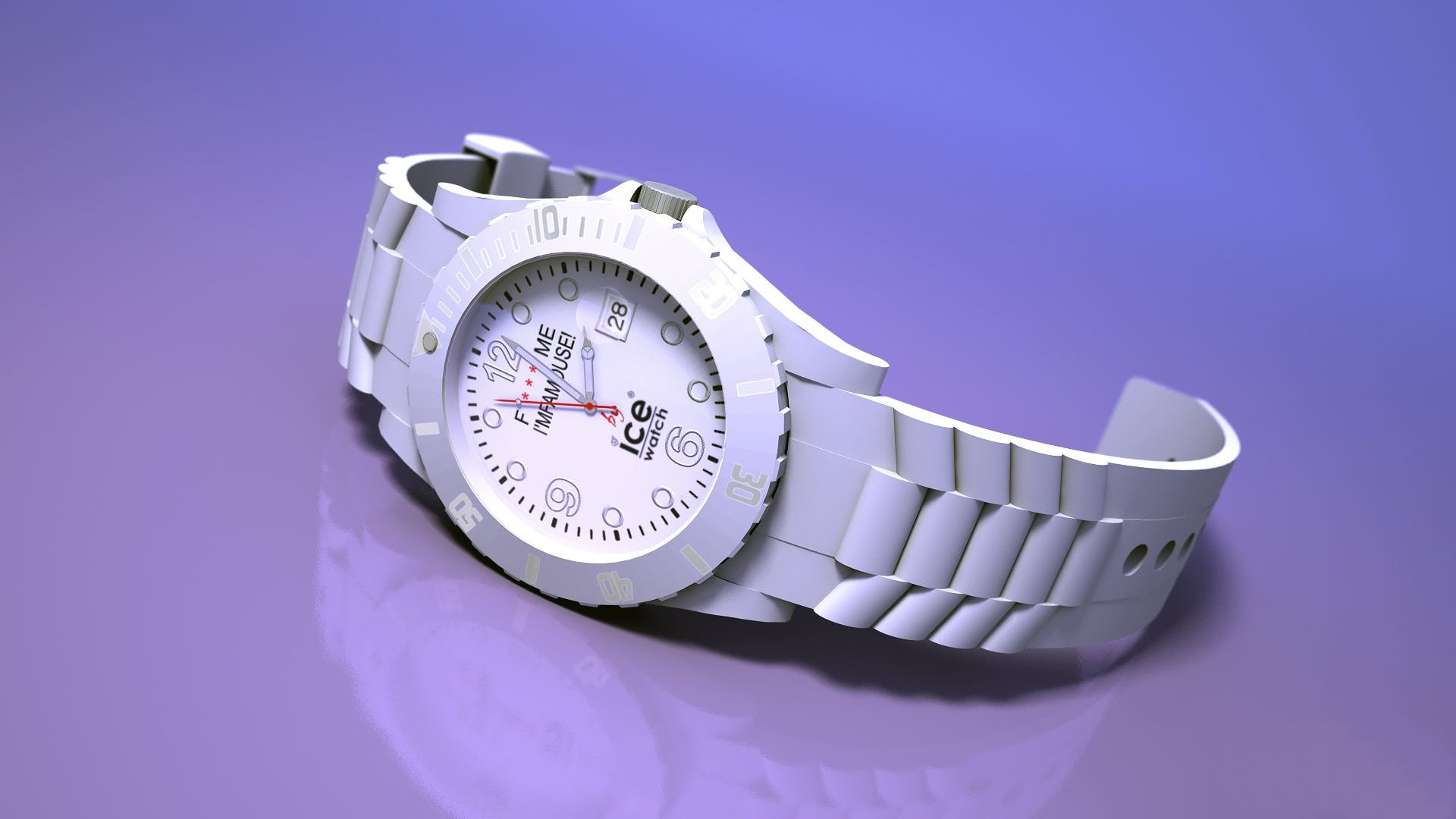 Round White Ice Analog Watch With Link Bracelet