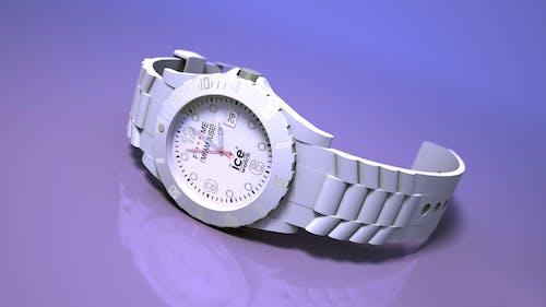 Round White Ice Analog Watch With Link Bracelet