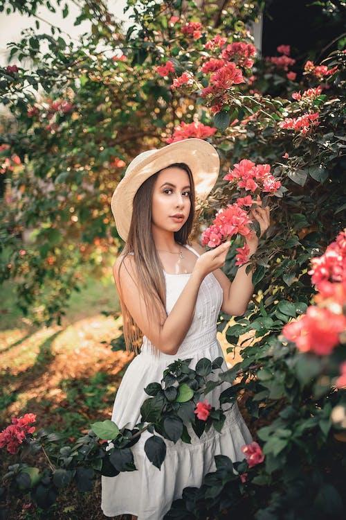 Darmowe zdjęcie z galerii z biała sukienka, brunetka, flora, fryzura