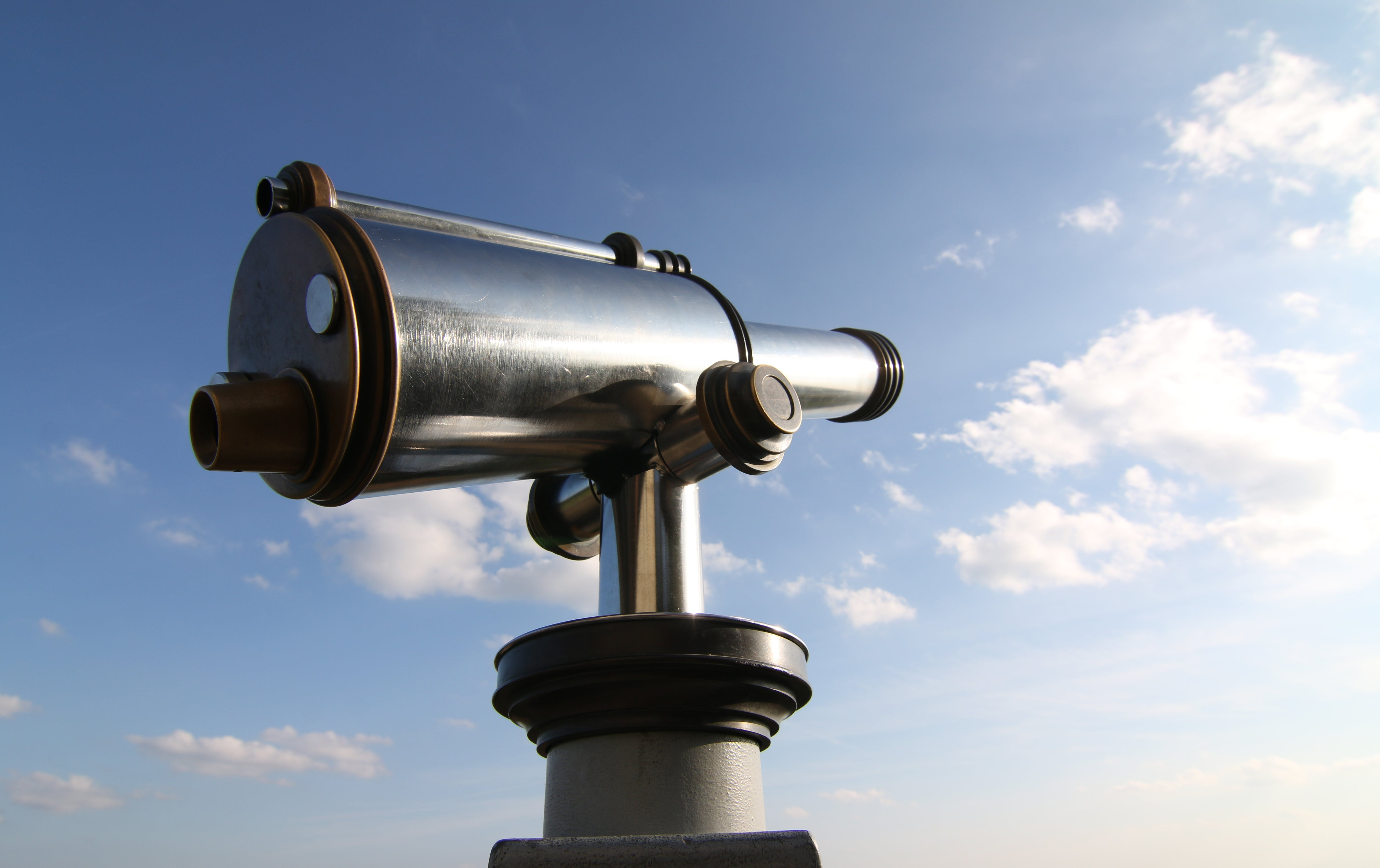 Free stock photo of sky, clouds, telescope, watch