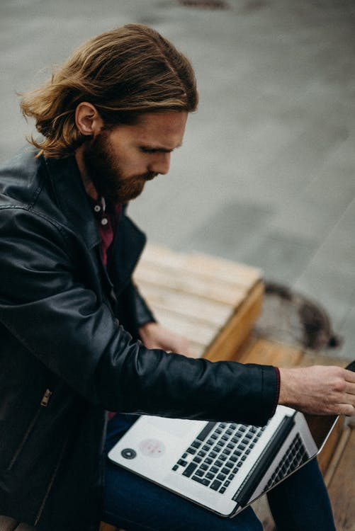 alvorlig, arbeide, bærbar datamaskin