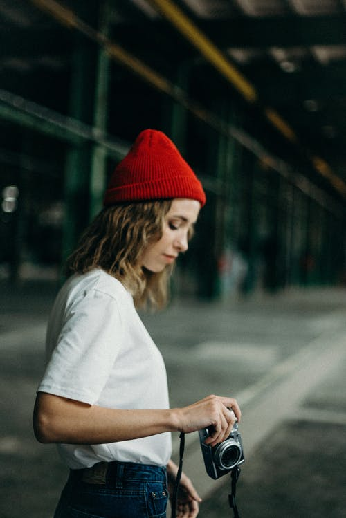 Women Wearing Red Beanie