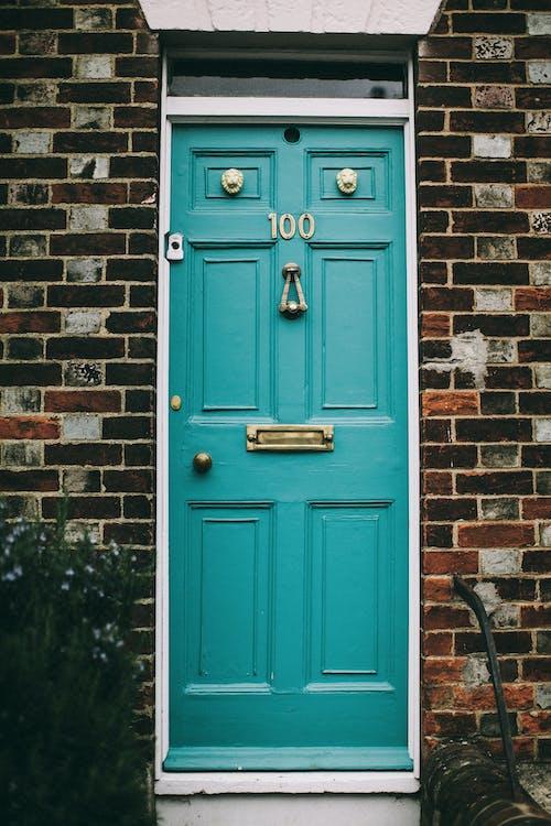 Teal Wooden Panel Door