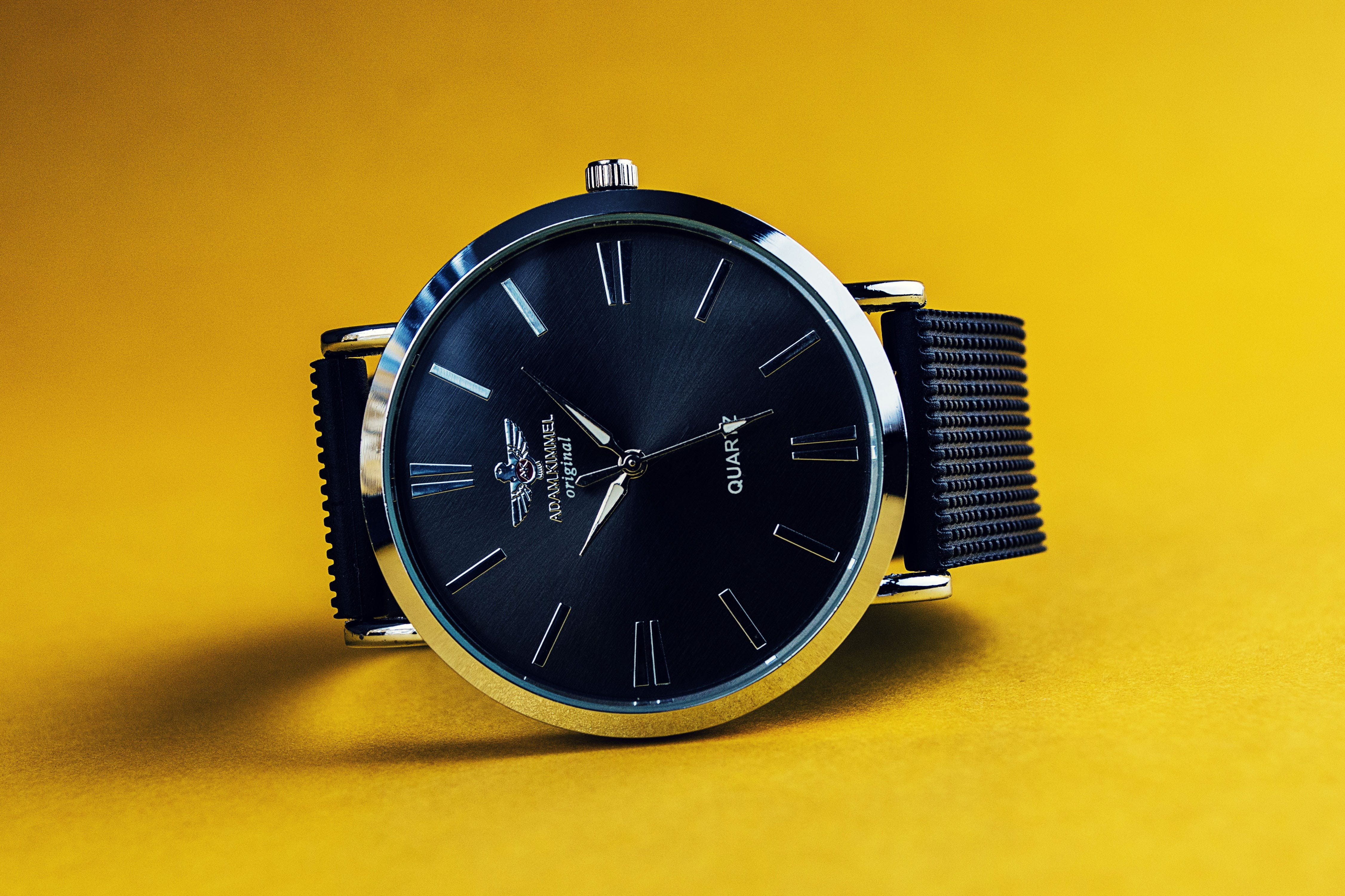 Round Silver-colored Analog Watch With Black Strap