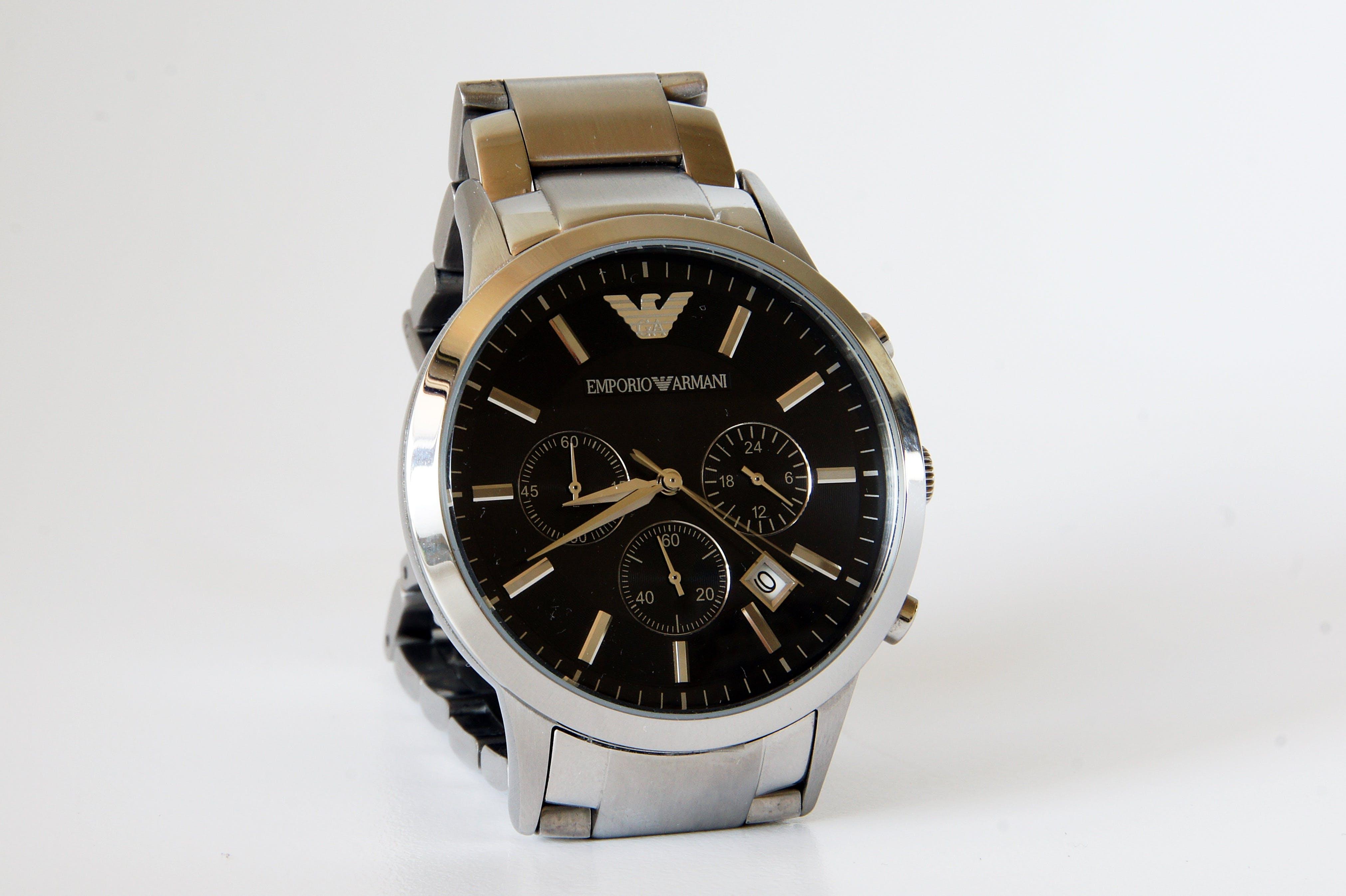 Round Silver-colored Emporio Armani Chronograph Watch