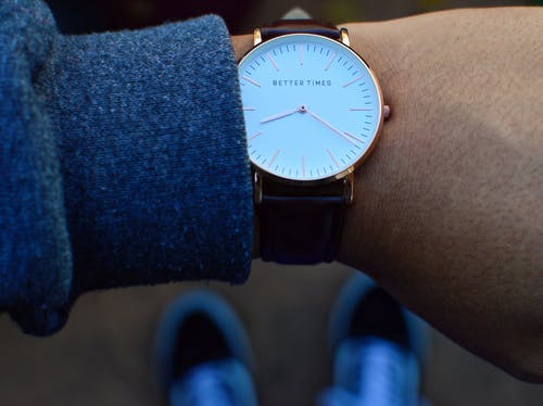 Round White Analog Watch With Brown Leather Strap