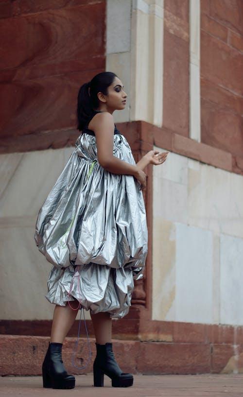 Woman Wearing Gray Dress