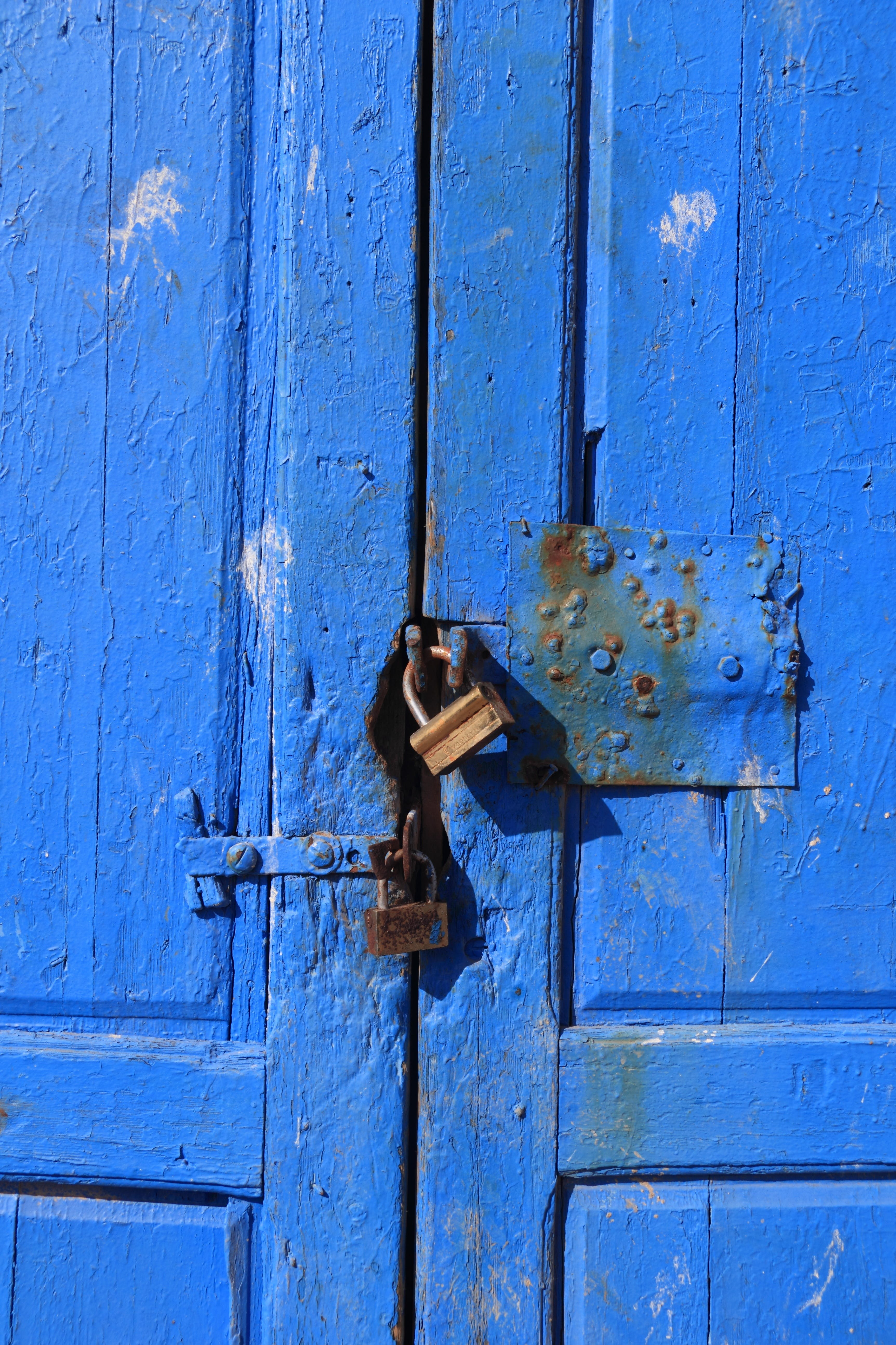 Free stock photo of door, essaouira, harbor, lock