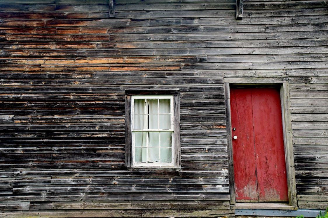 Closed Red Wooden Door